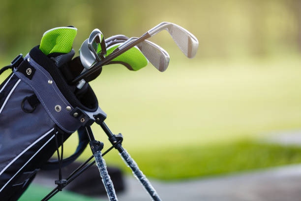 golf clubs at a golf resort. set of golf clubs - golf clubs stock photos and pictures