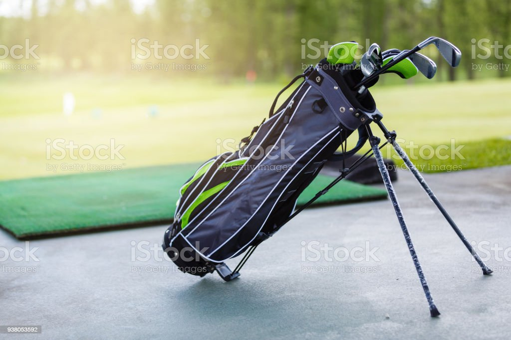 Golf clubs at a golf resort. set of golf clubs