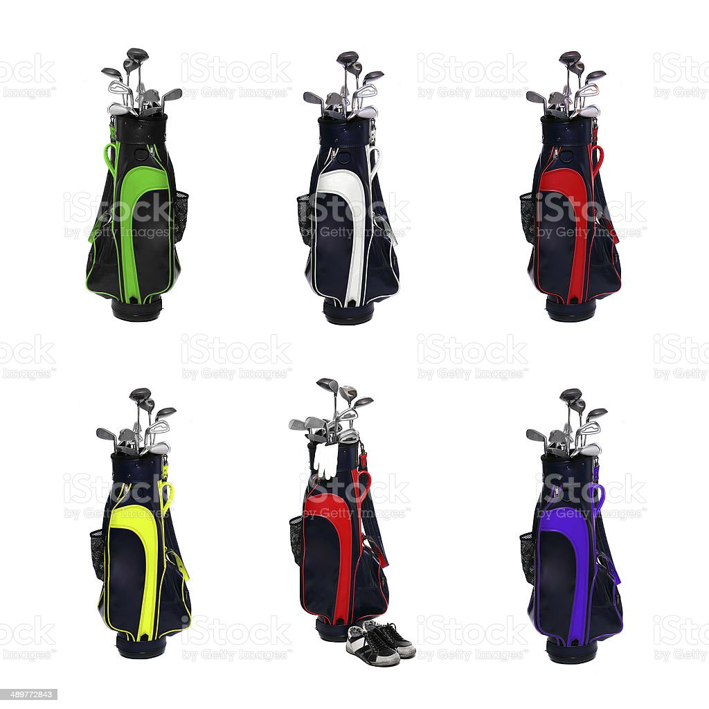 Golf clubs bags stock photo