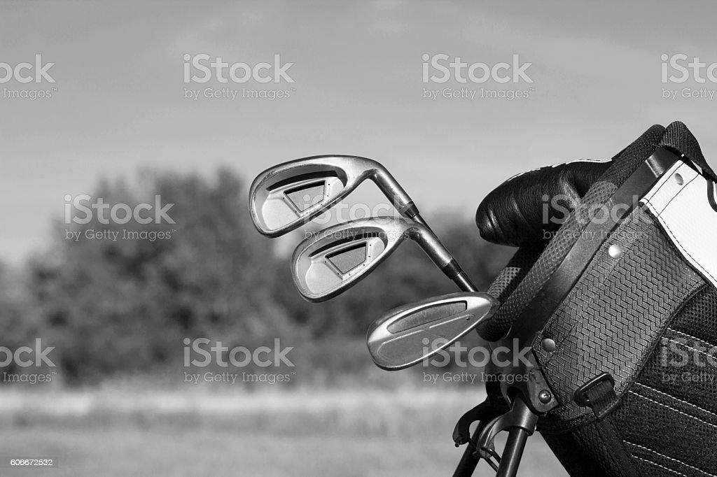 Golf clubs in golf bag BnW - Photo