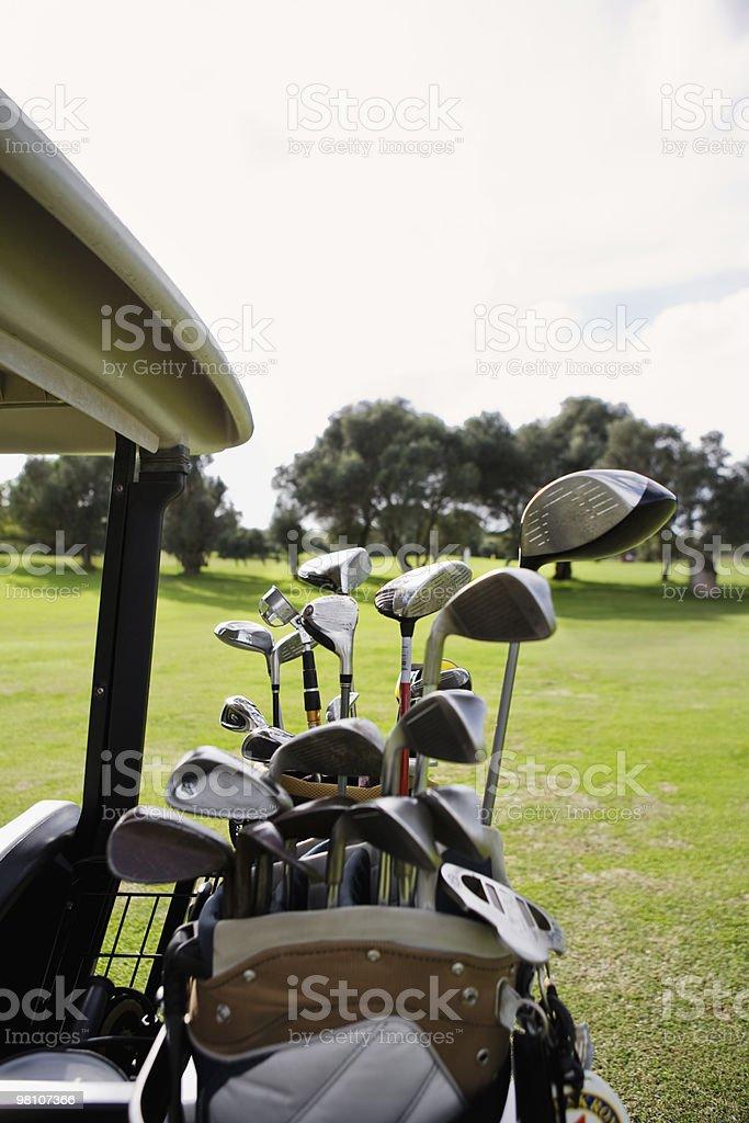 golf clubs on golf car royalty-free stock photo