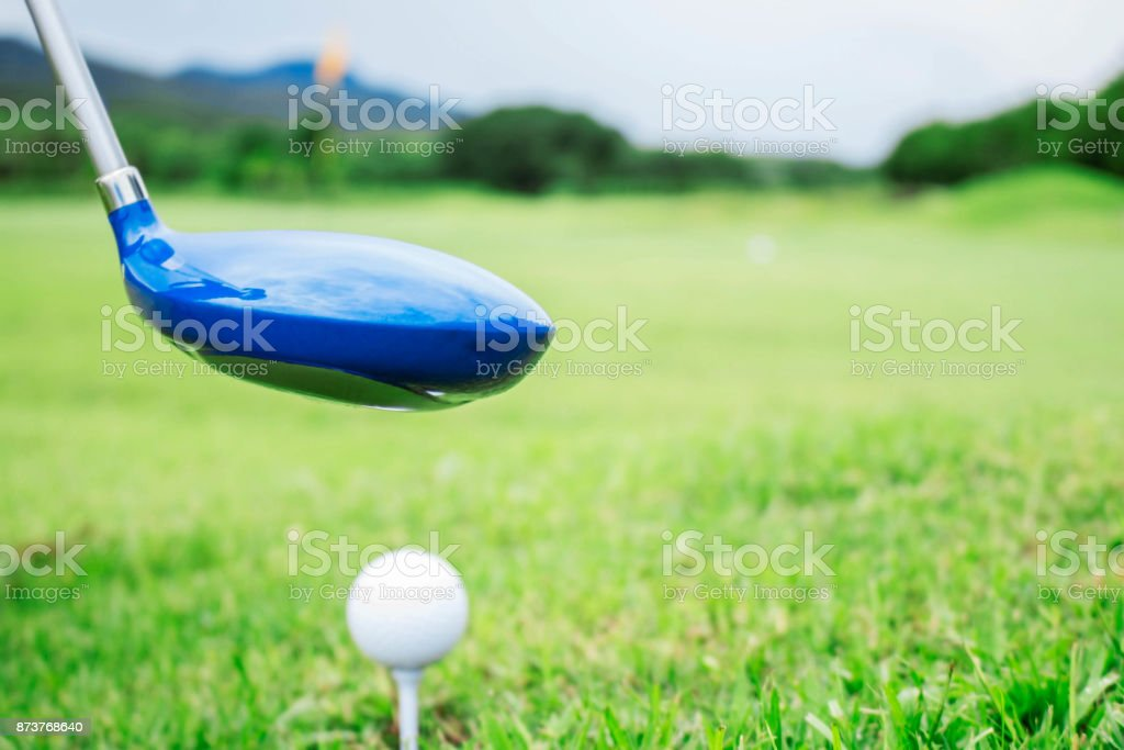 Golf clubs on green lawns. stock photo