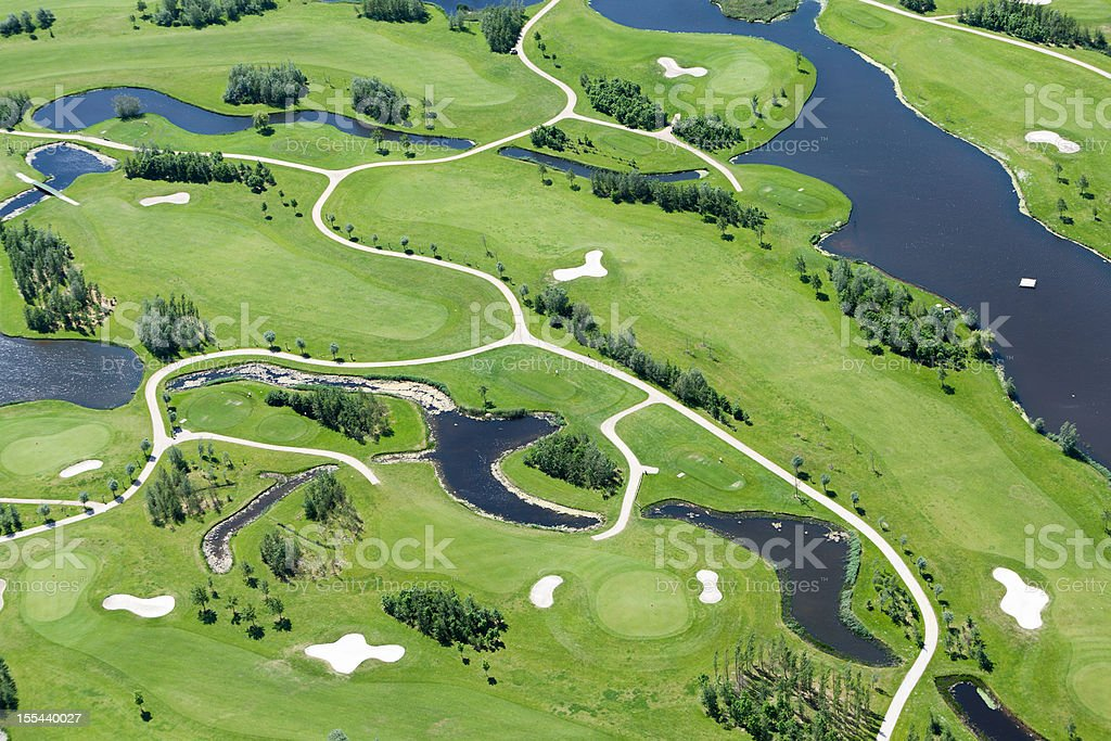Golf course aerial view foto