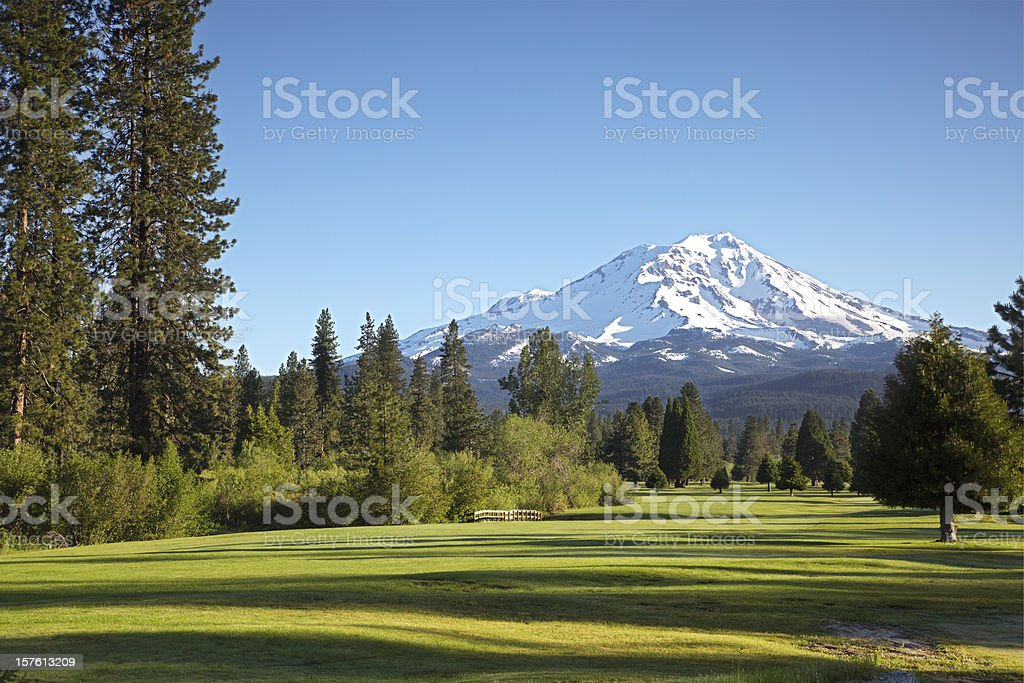 Golf course and Mt Shasta morn stock photo