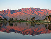 The mountains are kissed by the sunrise on a desert golf course near Palm Springs, California.