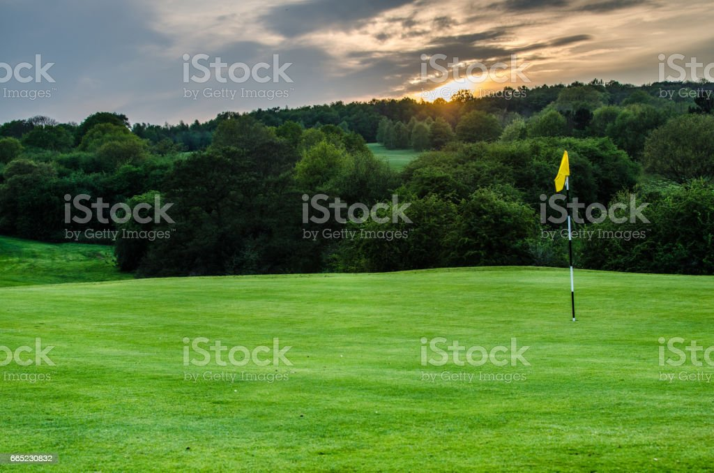 Golf Course Background With Copy Space At Dusk Stock Photo Download Image Now Istock