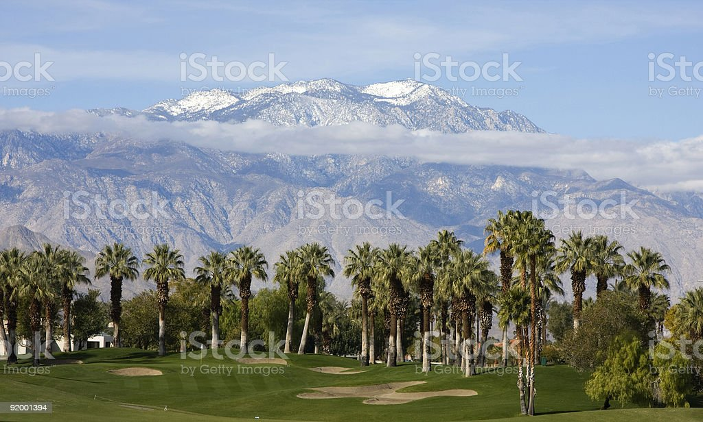 Golf Course by Palms and Mountains stock photo