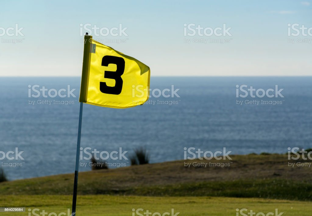Golf course by the sea stock photo