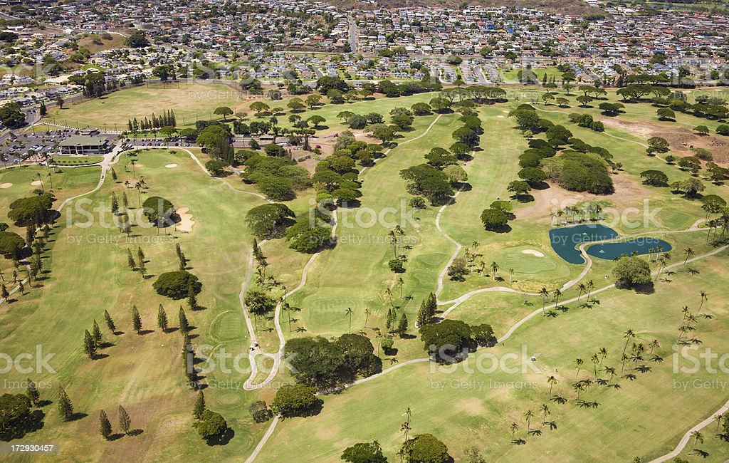 Golf course from the air royalty-free stock photo