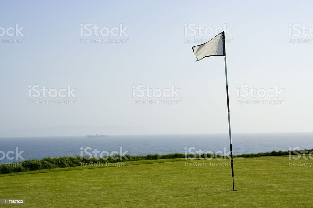 golf course green and flag stock photo