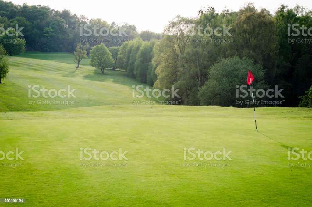 Golf course grounds background with tee and copy space stock photo