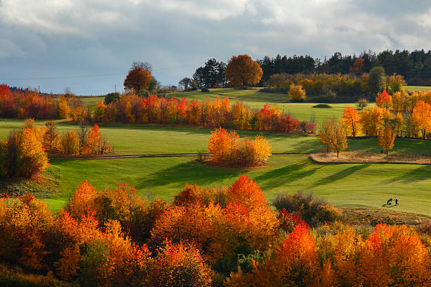 Golf course in autumn stock photo
