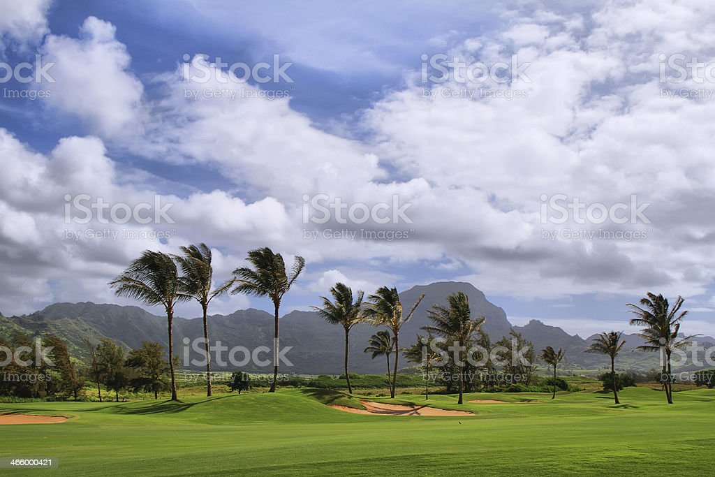 Golf course in mahaulepu trail royalty-free stock photo