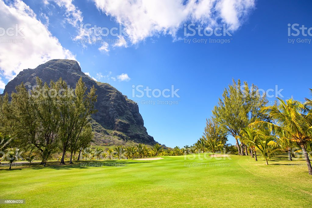 Golf Course in Mauritius stock photo