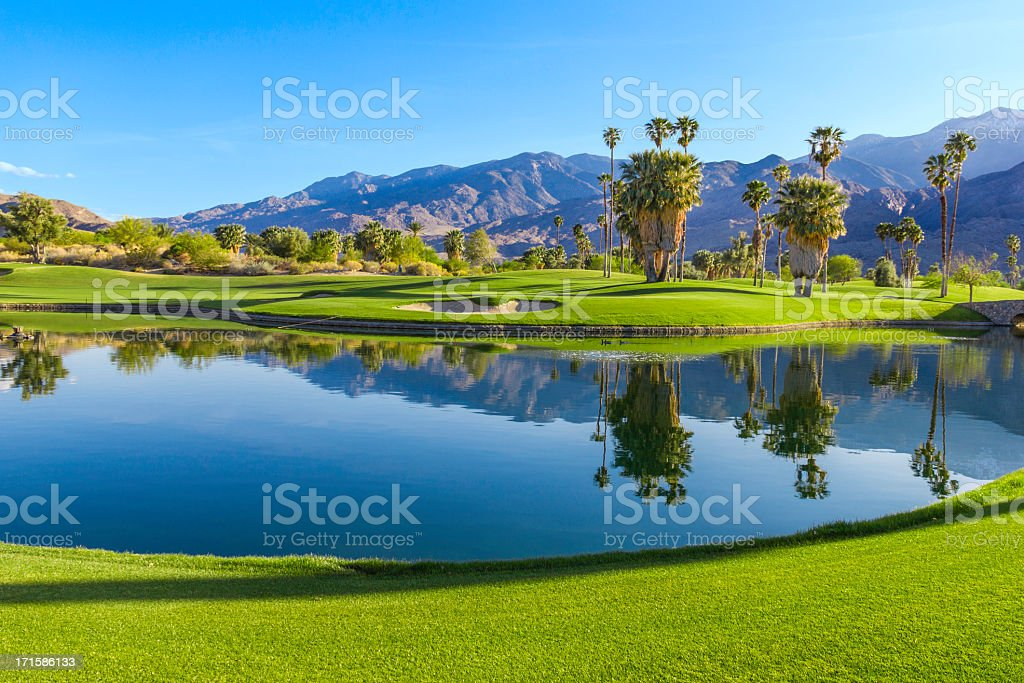 Golf course in Palm Springs, California (P) royalty-free stock photo