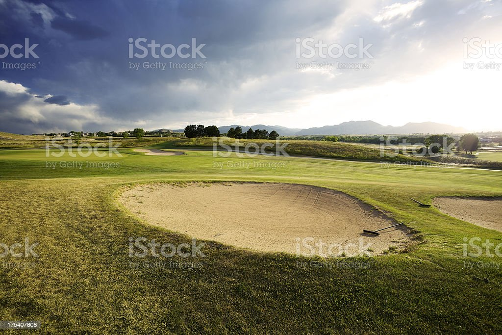 Golf Course In Rocky Mountains stock photo