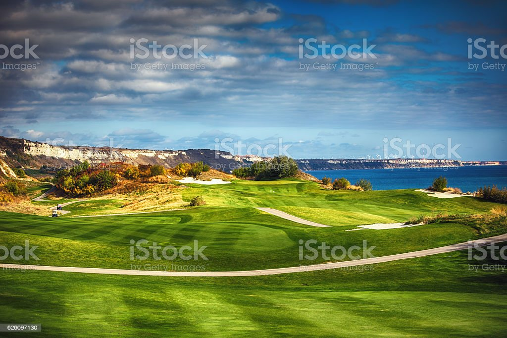 Golf course in the countryside stock photo
