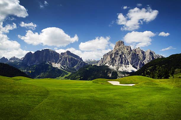 Golf course in the Italian Dolomites stock photo