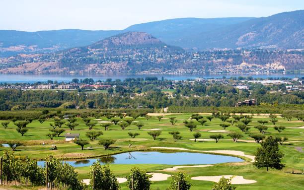 Golf course in the Okanagan valley stock photo