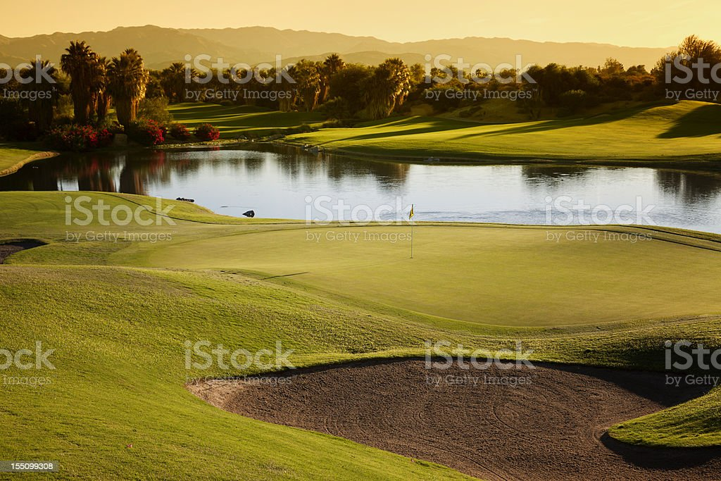 Golf Course Landscape at Sunrise stock photo