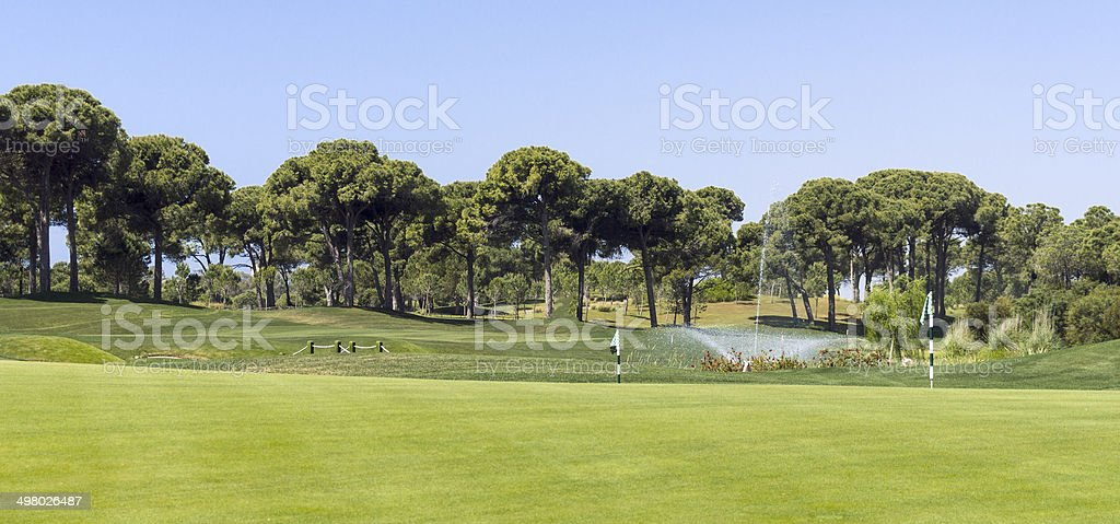 Golf Course landscape with fountain stock photo