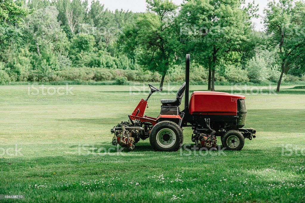 Golf Course Maintenance Equipment Fairway Mower Stock Photo