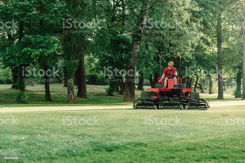 Golf course maintenance equipment, fairway mower stock photo