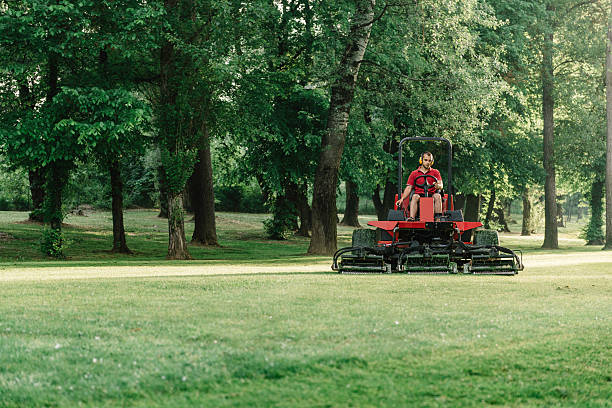 golf course maintenance equipment, fairway mower - riding lawn mower stock photos and pictures