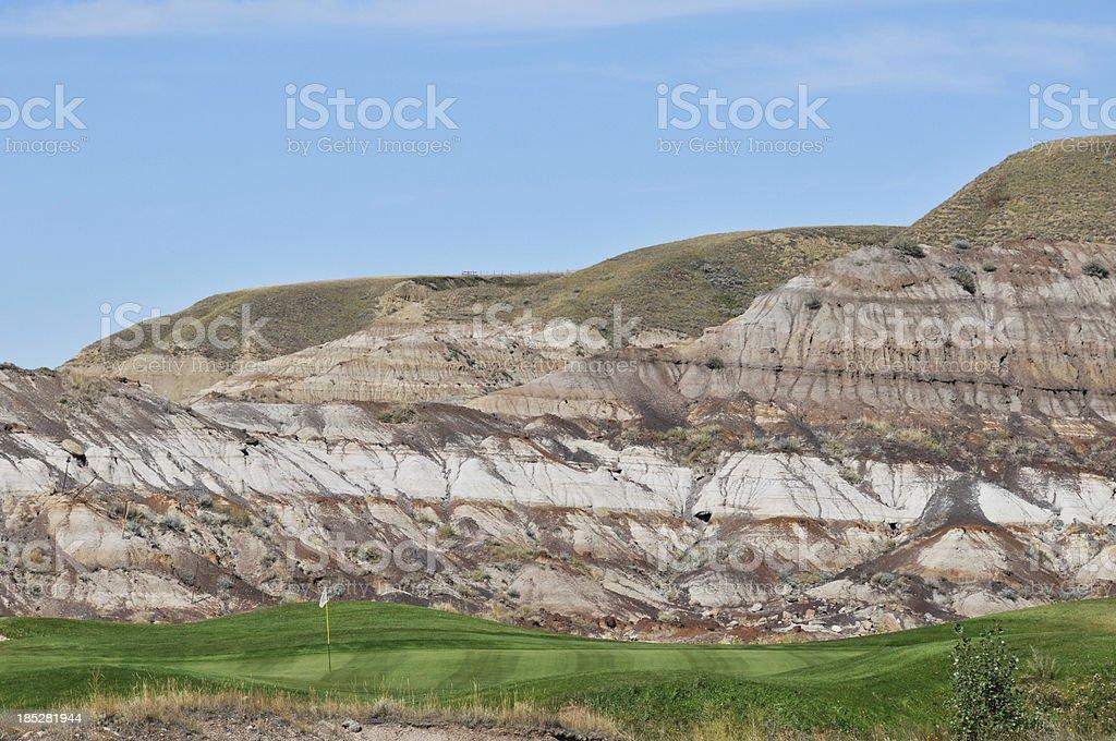 Golf course near Drumheller, Alberta stock photo
