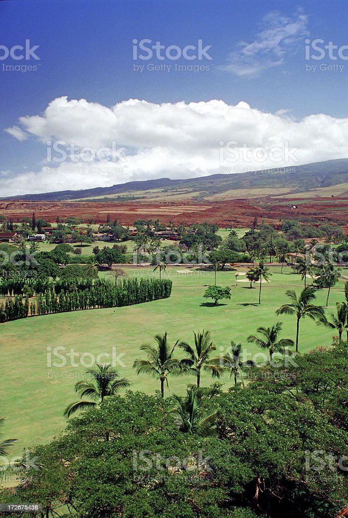Golf Course near Mountains royalty-free stock photo
