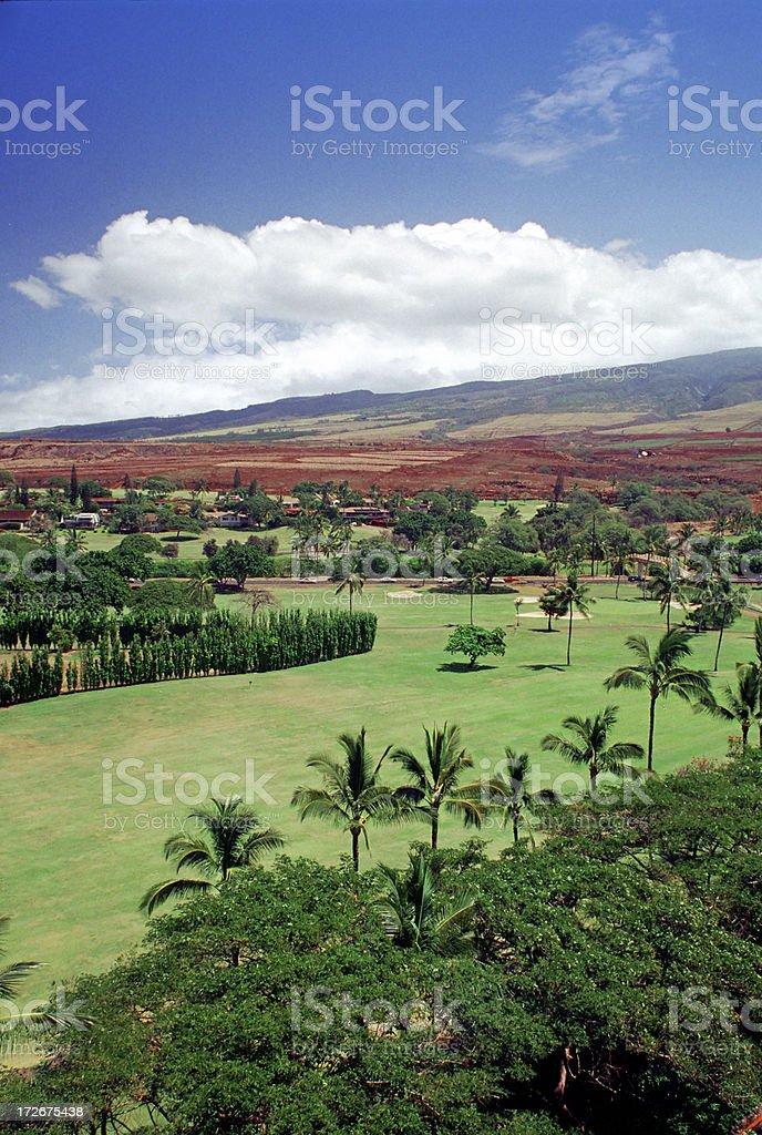 Golf Course near Mountains stock photo