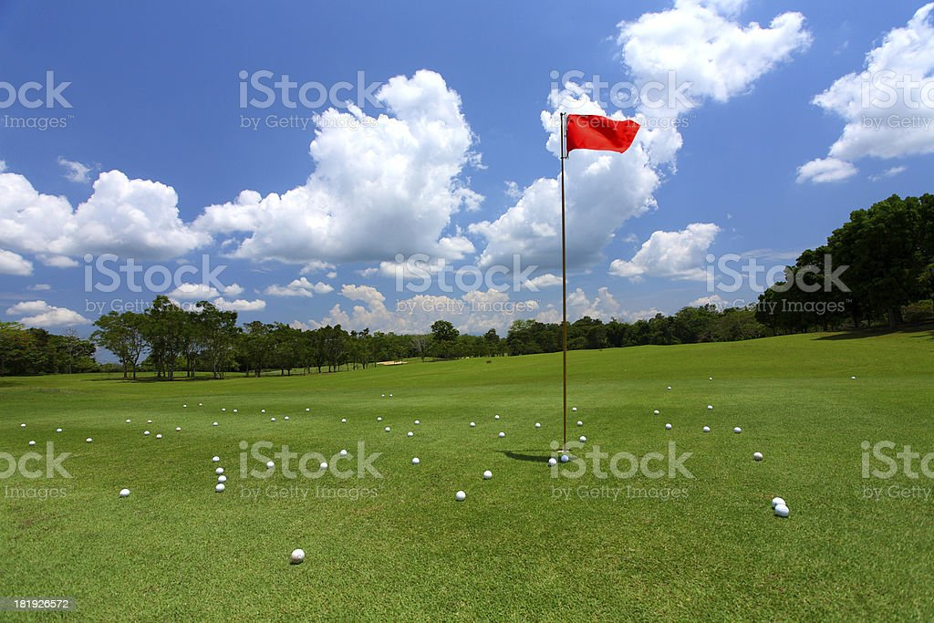 Golf course on a blue sky background stock photo