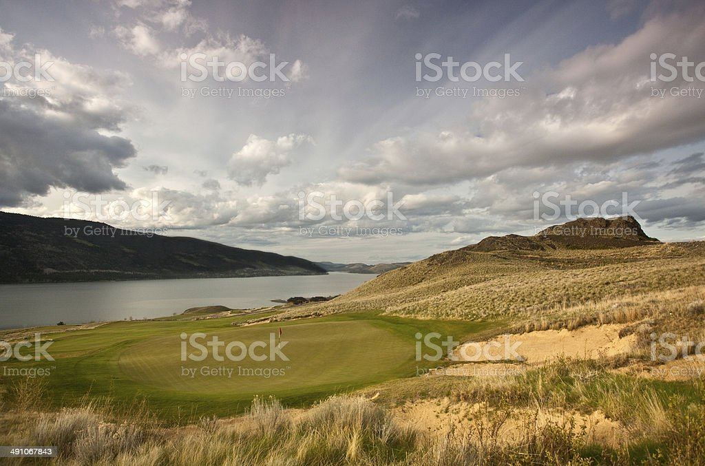 Golf Course on the High Plains in British Columbia stock photo