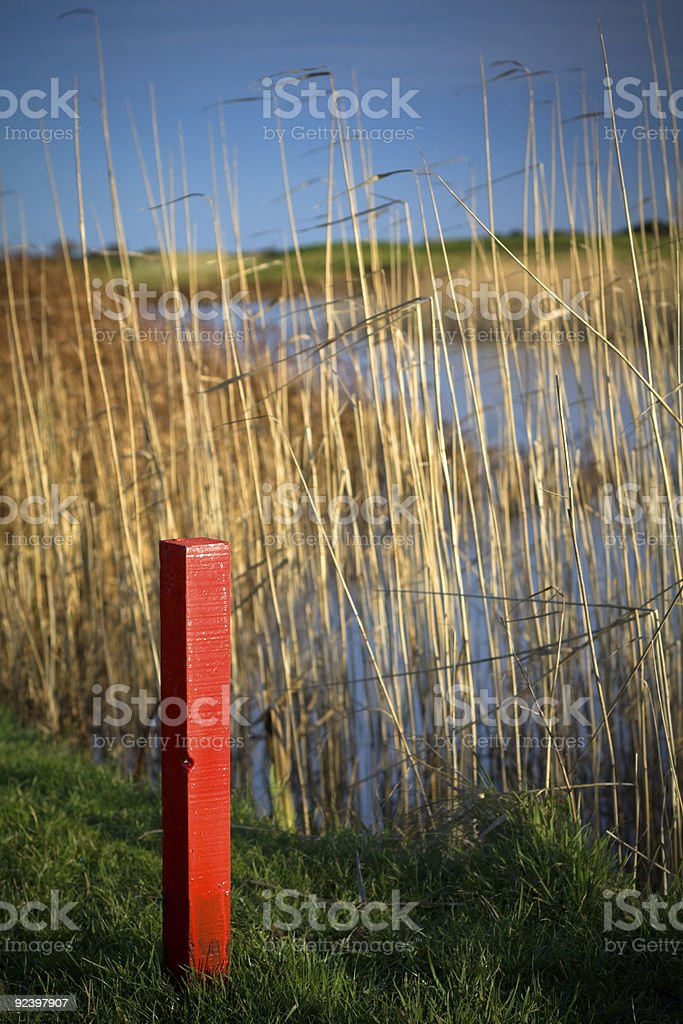 Golf Course Out of Bounds Marker stock photo