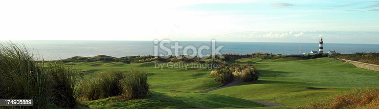 Golf course view with famous Old Head lighthouse in background.