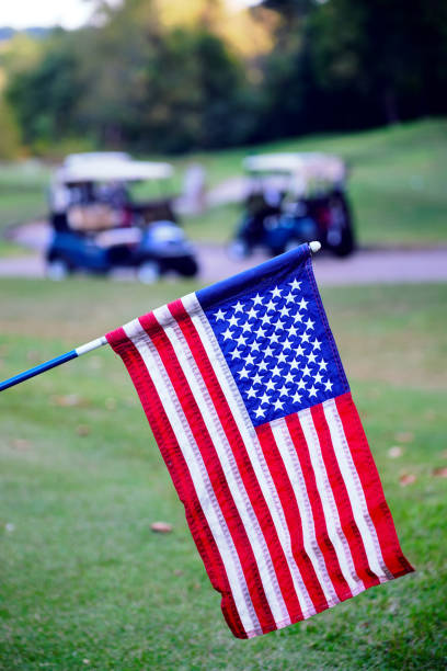Golf Course Patriotc Flag stock photo