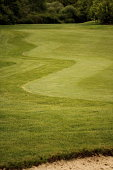 Wiggley patterned green grass on a golf course with a sandy bunker