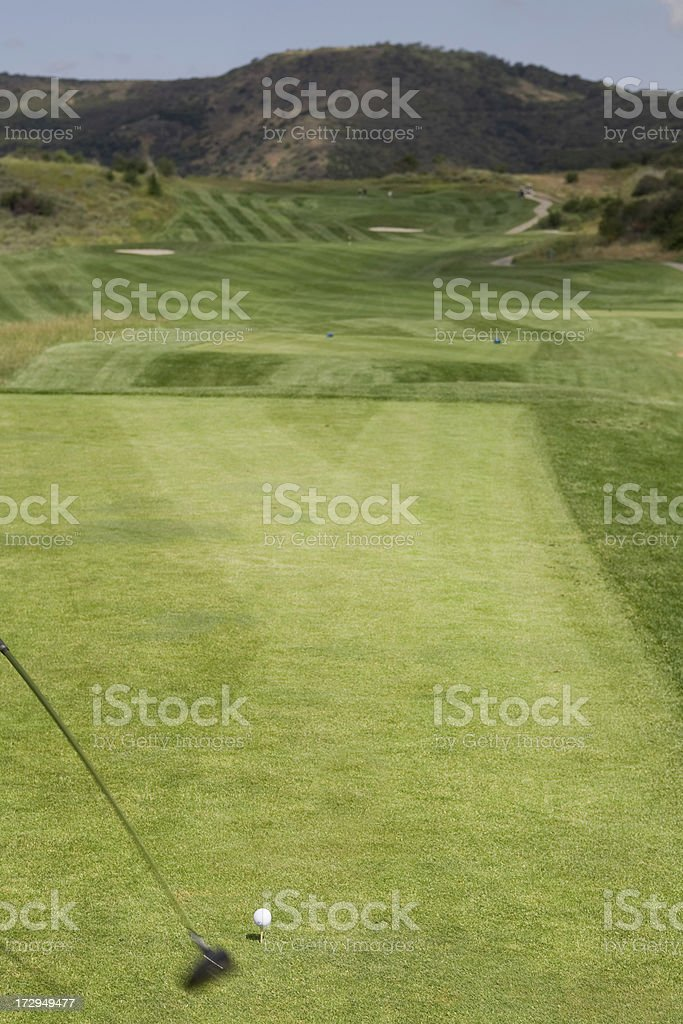 Ball about to be hit on green golf course in Southern California
