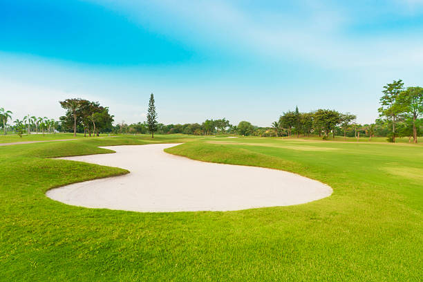 golf course sand trap in golf course. sriracha tiger zoo stock pictures, royalty-free photos & images