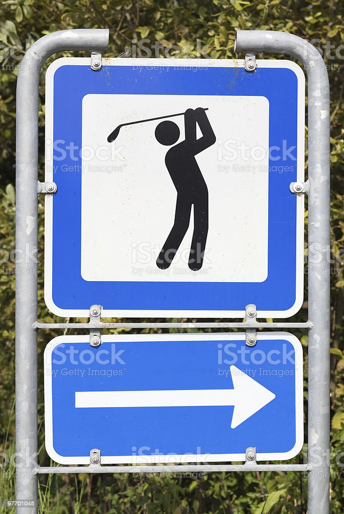 Golf course road sign stock photo