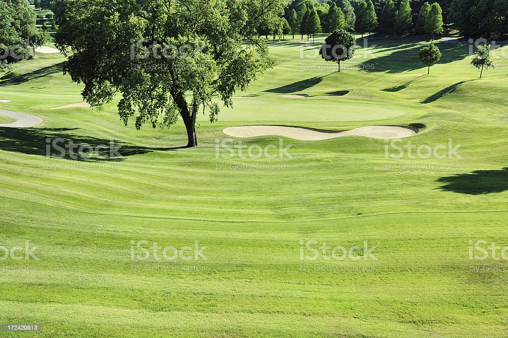 Golf Course Sand Trap and Greens stock photo