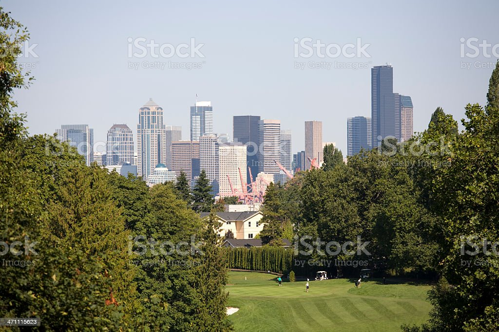 Golf Course Series and Seattle City Skyline royalty-free stock photo