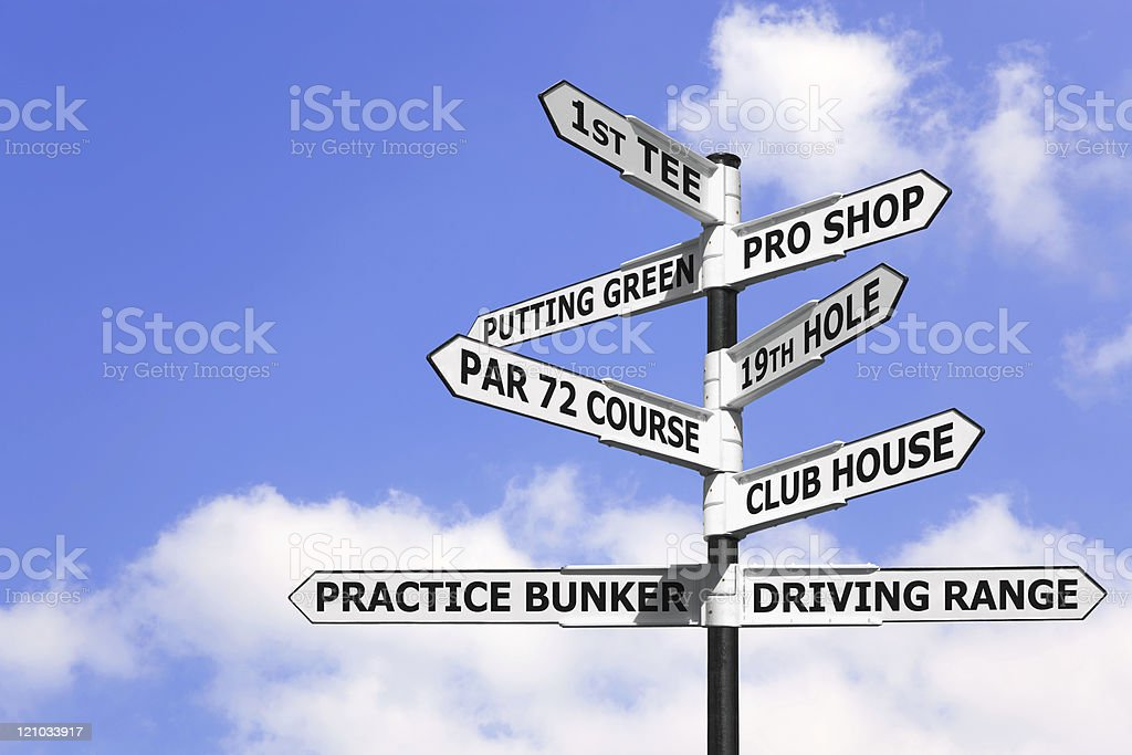 Golf course signpost royalty-free stock photo