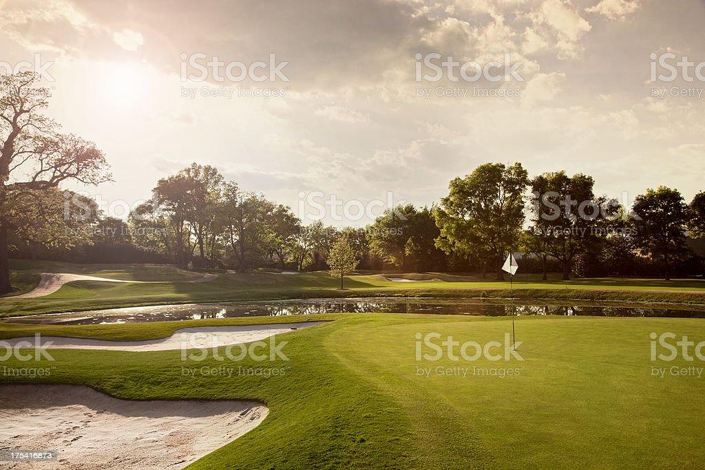 Golf Course Sunset stock photo