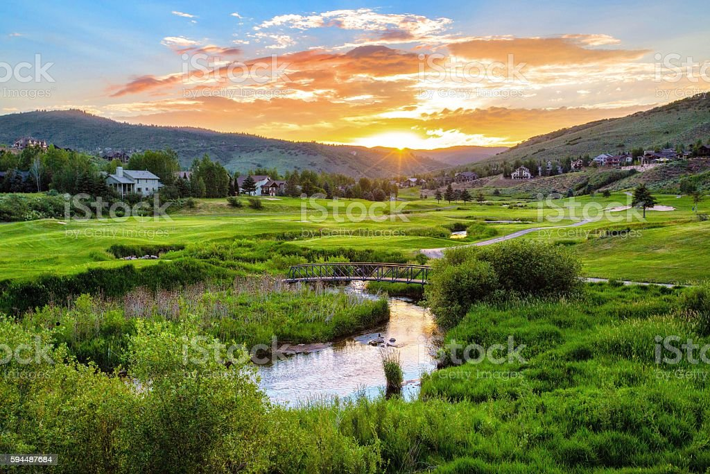 Golf Course Sunset, Utah stock photo