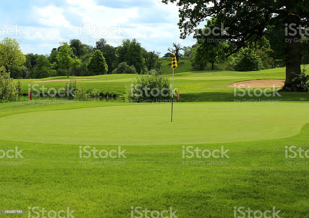Photo showing a golf course hole on a sunny day, with a manicured...