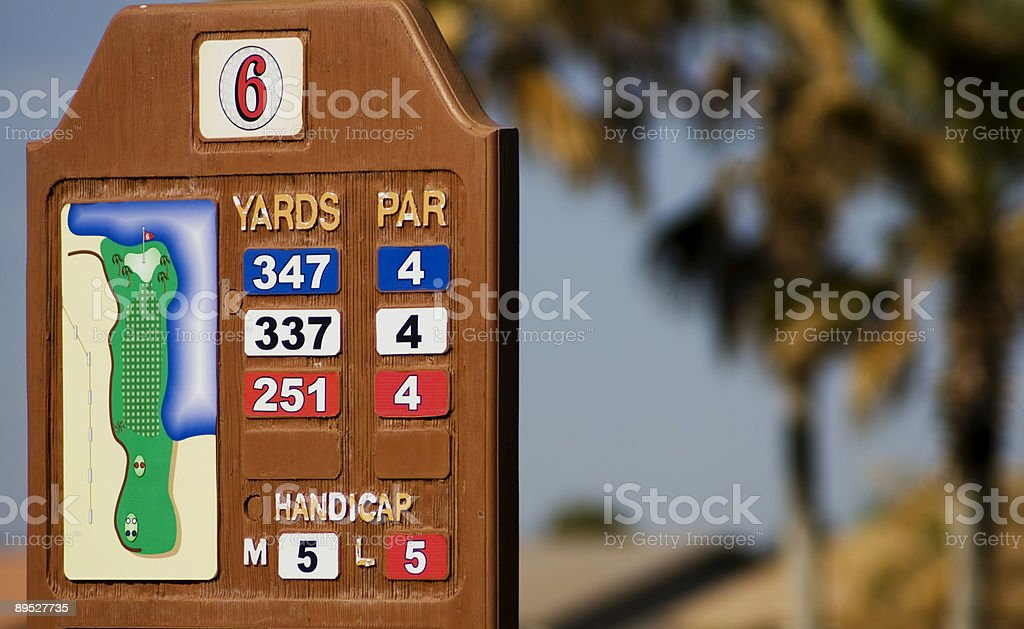 Golf Course Yards and Par Sign royalty-free stock photo