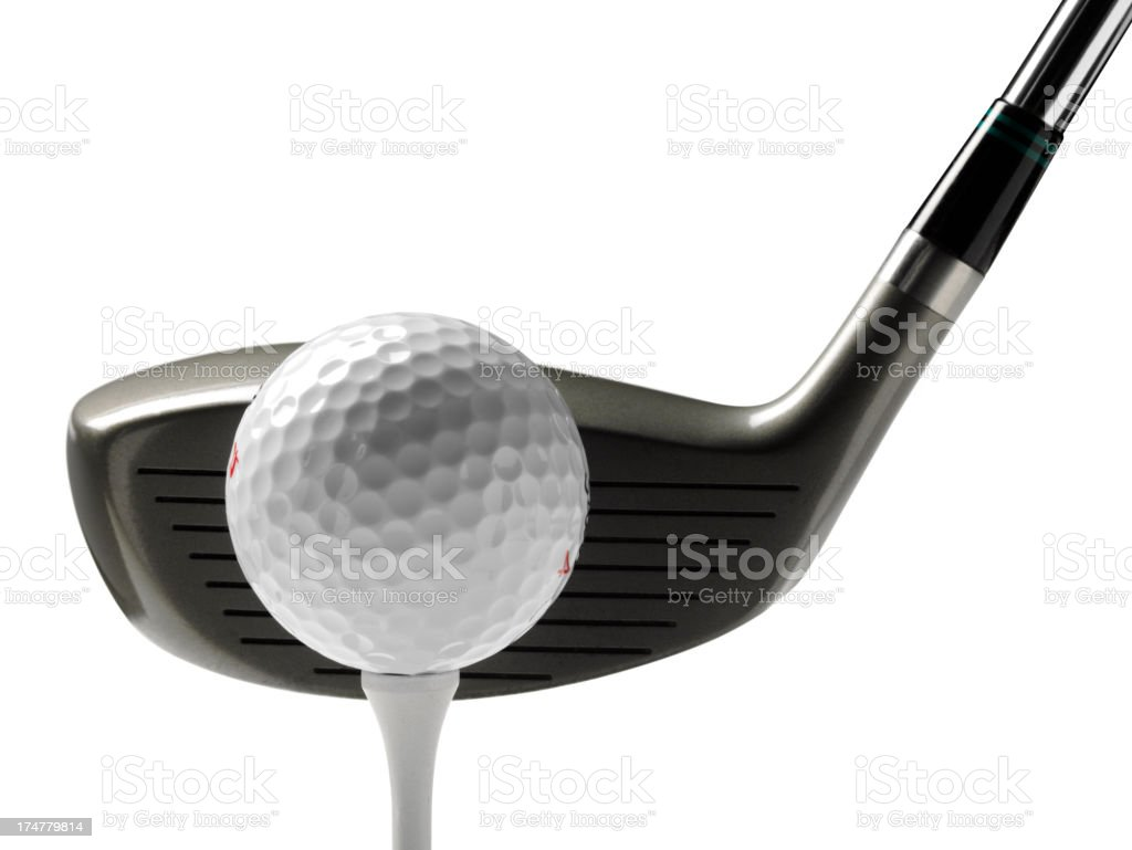 Golf Driver with Tee,Ball and Club stock photo