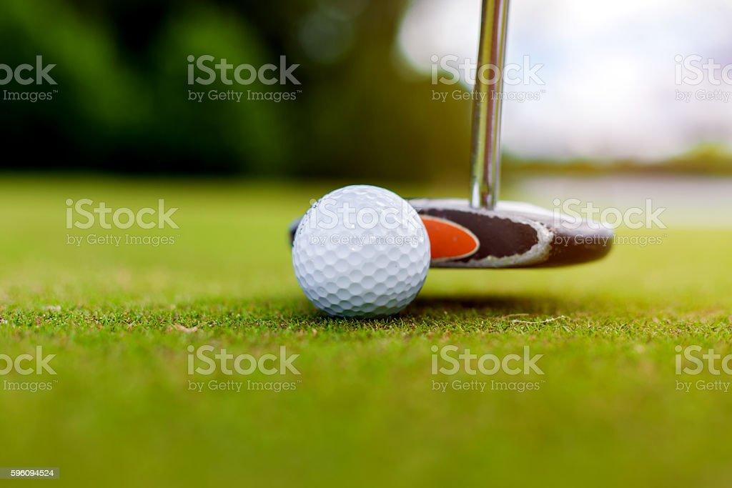 Golf equipment, ball and stick Lizenzfreies stock-foto