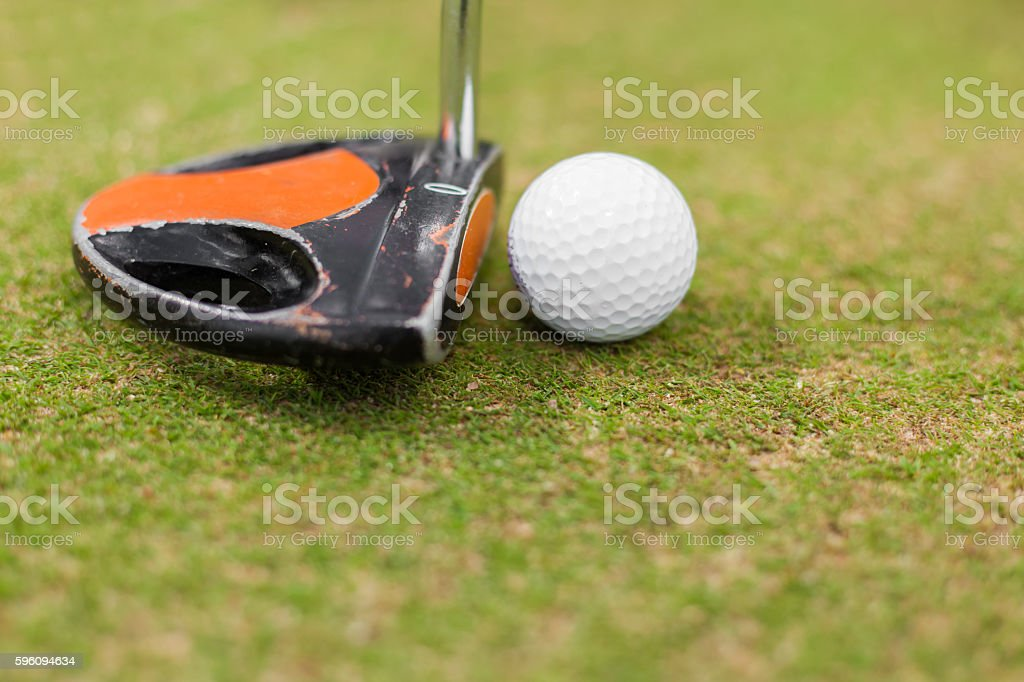 Golf equipment, ball and stick royalty-free stock photo